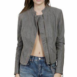 Free People Vegan Suede Grey Jacket Moto Size 6